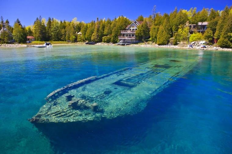 Shipwreck in shallow water. Lake Huron