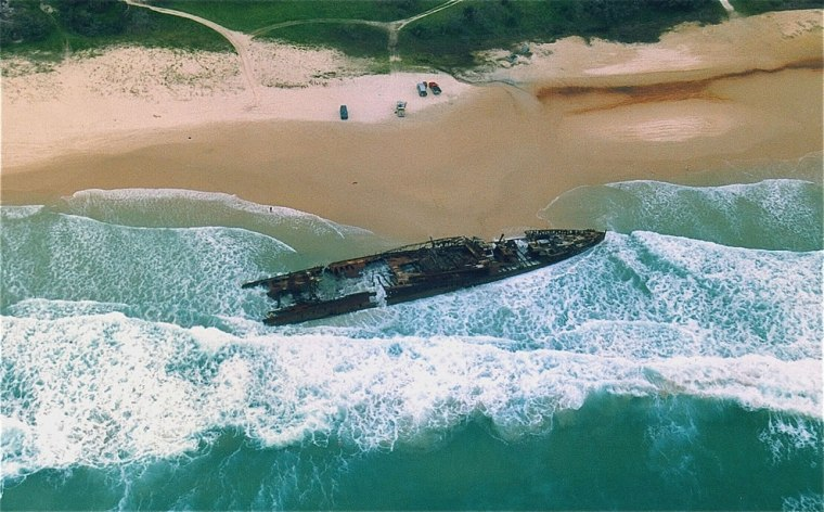 Wreck-of-the-passenger-vessel-MAHENO-on-Fraser-Island-Qld-22-Sep-1993.-Vessel-went-ashore-and-broke-up-9-Jul-1935-after-tow-broke