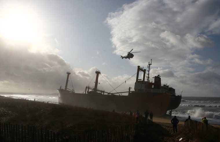 The-cargo-ship-TK-Bremen-stranded-on-the-beach-at-Kerminihy-beach-at-Erdeven-near-Lorient-France-on-December-16-2011.-AP-PhotoDavid-Vincent